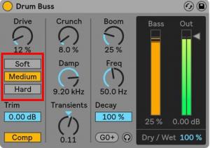 Opciones en Drum Buss: Soft, Medium y hard