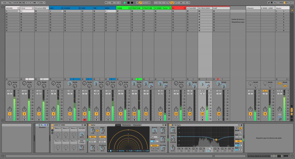 Vista de sesión Ableton Live