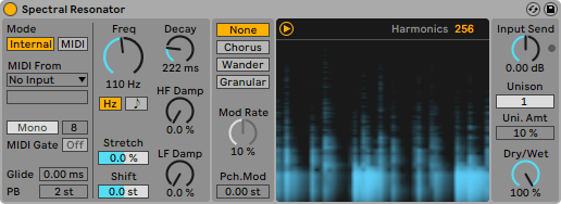 Spectral resonator Ableton Live 11